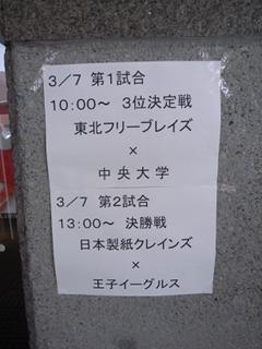 2010/03/07 全日本アイスホッケー選手権 最終日 組み合わせ