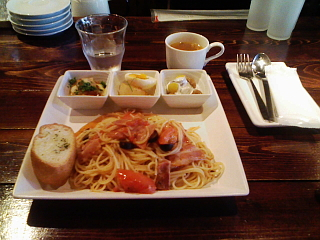 2008/06/12 カフェ・スプラウト フレッシュトマトとベーコン、オリーブのスパゲッティ