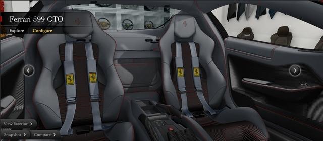 2010/04/10 フェラーリ599GTO 内装 シート